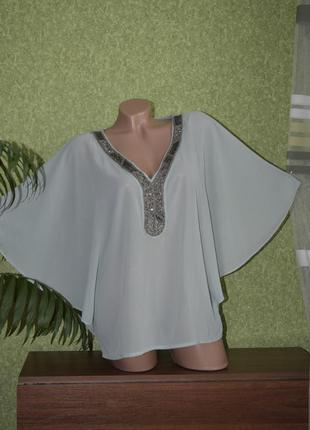 Нарядная нежно  мятная летучка , накидка , блуза