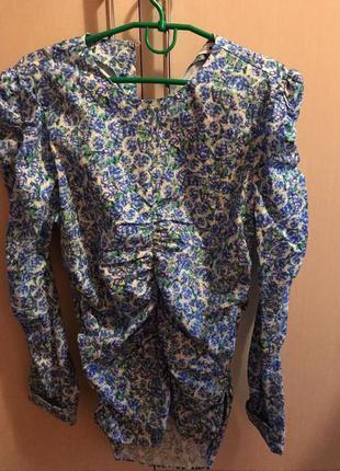 Голубая блузка в цветочек zara