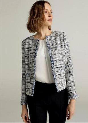 Mango стильный твидовый пиджак, жакет, блейзер, курточка, куртка