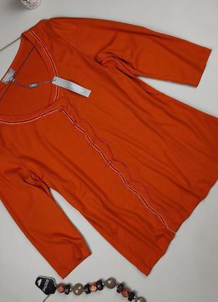 Блуза кофточка новая хлопковая стильная оранжевая marks&spencer uk 20/48/3xl