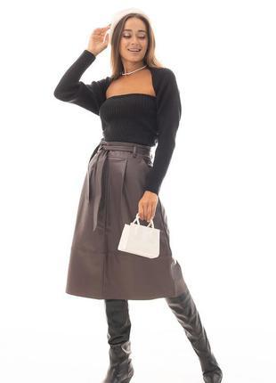 Кожаная юбка 42 размер, юбка из кожи , длинная кожаная юбка
