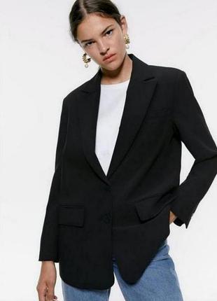 Zara базовый чёрный пиджак свободного кроя, пиджак прямого кроя, жакет, удлинённый блейзер свободного кроя, блейзер прямого кроя, блейзер оверсайз