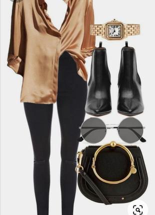 Ликвидация 🎈стильная  атласная нюдовая рубашка в бельевом пижамном стиле 975