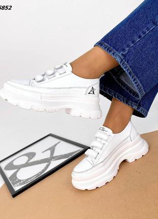 Рр 36-41.белые  кеды кроссовки из натуральной кожи