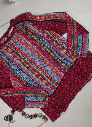 Блуза натуральная красивая в принт tu uk 20/48/3xl