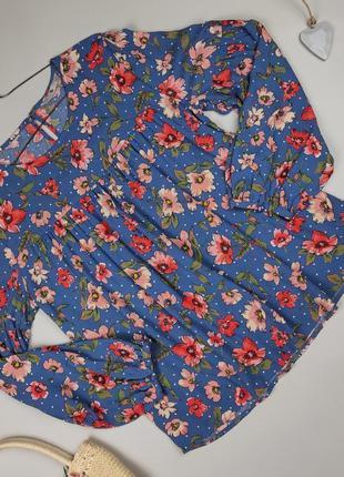 Блуза новая натуральная свободного кроя в цветы tu uk 12/40/m