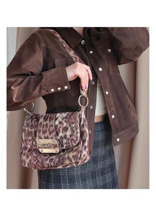 Леопардовая винтажная сумка guess