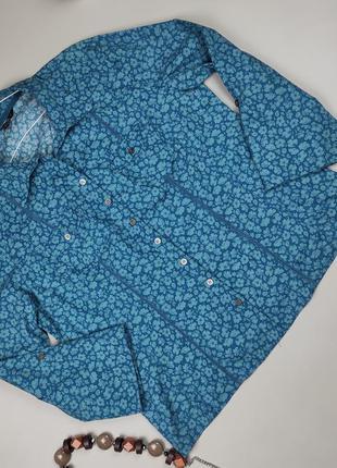 Блуза рубашка красивая стрейчевая плотная в цветочный принт laura ashley uk 18/46/xxl