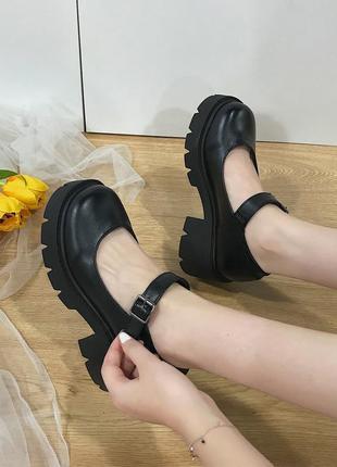 🔥 туфли лолита мэри джейн школьные на каблуке, платформе черные лаковые, матовые с круглым носком