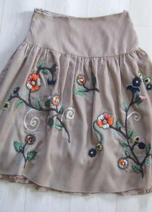 Шерстяная миди юбка creme с вышивкой