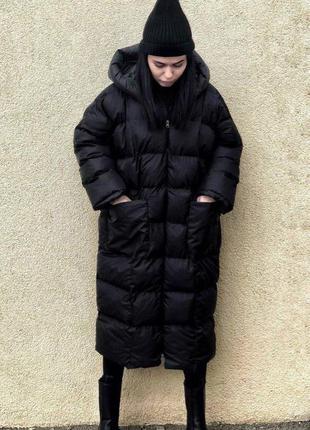 Теплая объемная зимняя куртка-пальто оверсайз