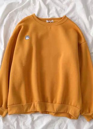 Свитшот оранжевый горчица горчичный трикотажный трикотаж на флисе