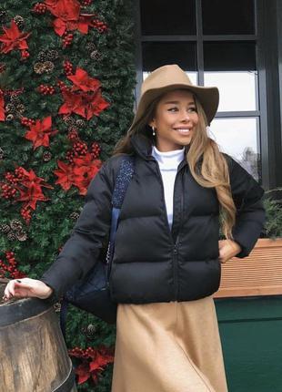 Крутая укороченная куртка-пуховик для девушек