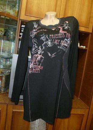 Брендовое платье-туника с принтом,с длинным рукавом,черное осень-весна,прямое
