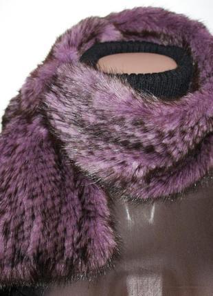 Вязаный меховой шарф шале мех норка сиреневый