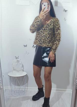 Леопардовый свитер пушистый анималистический животный принт