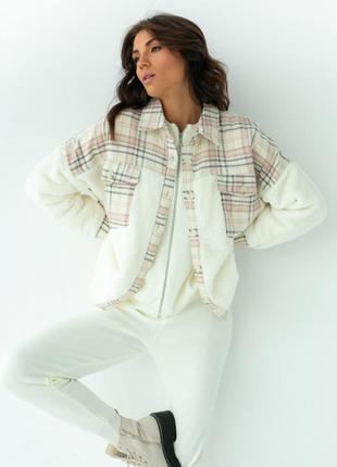 Плюшевая теплая рубашка, ветровка, куртка