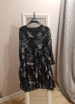 Платье мини с журавлями японский стиль