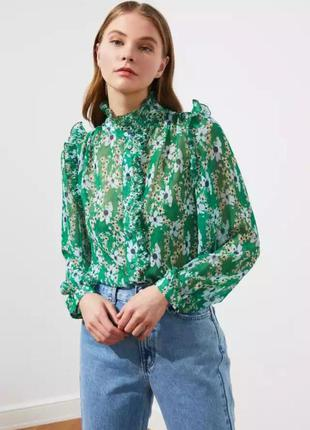 Новая с биркой блуза рубашка 34 xs s trendyol воротник стойка