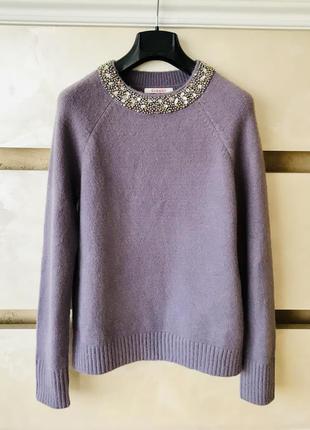 Camaieu лавандовый лиловый теплый свитер с украшением на горловине зимний