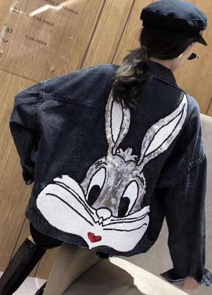 Джинсовка женская джинсовая куртка с зайцем