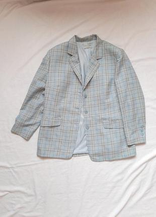 Піджак, жакет, жіночий, шерсть, льон, в клітинку, блакитний, прямий