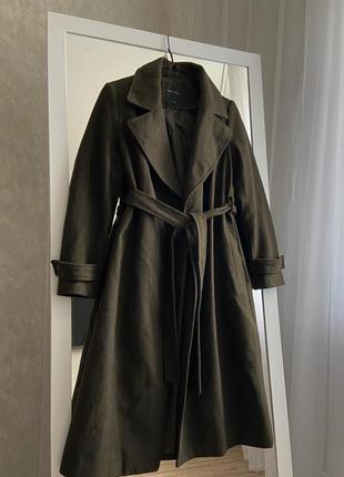 Хаки пальто на запах new look