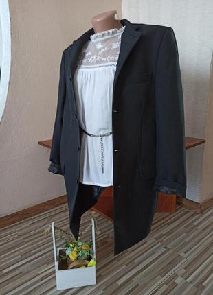 Шикарное черное пальто-пиджак