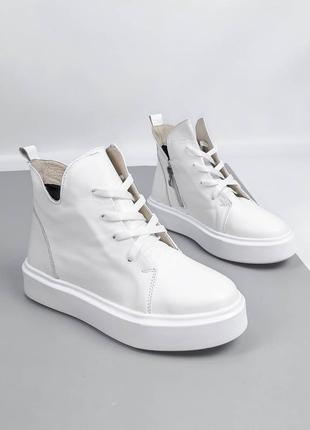 Женские кроссовки, высокие кроссовки, кожаные кроссовки, белые кроссовки,  1116