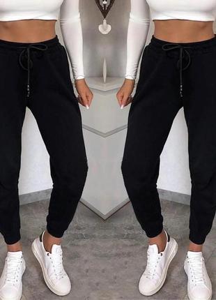 Черные штаны трехнитка флис