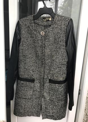 Пальто женское серое чёрное очень весна на кнопках эко кожа тёплое