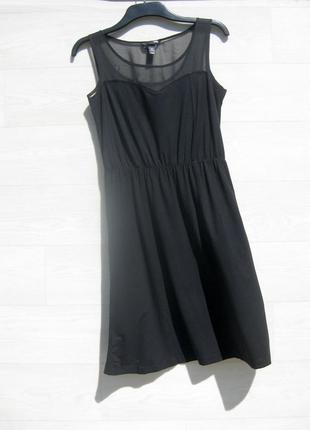 Платье h&m чёрное с полупрозрачным верхом мягенький плотный трикотаж