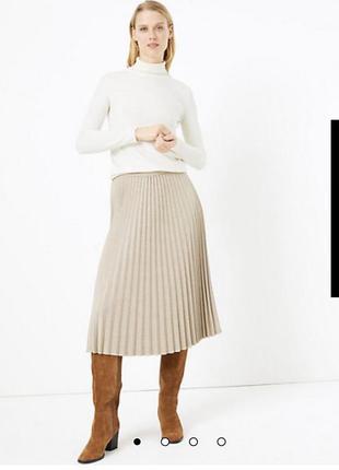 Стильная трикотажная юбка плиссе в модную клетку р 14