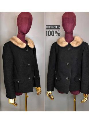 Пальто-пиджак шерстяное короткое пальто оверсайз с норковым меховым воротником rundholz owens lang