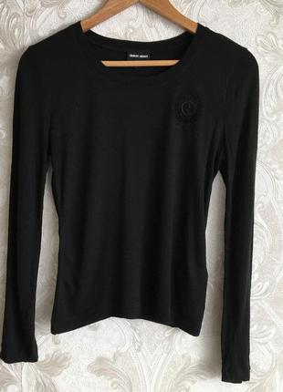 Черная кашемировая кофта свитер лонгслив giorgio armani оригинал