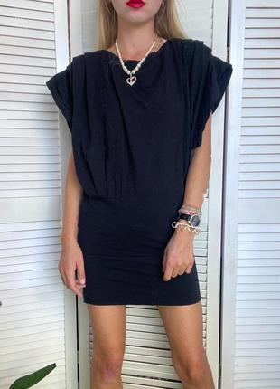 Шерстяное мини платье туника чёрного цвета tiger сукня, плаття