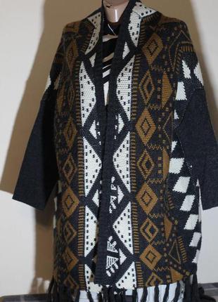 Кардиган, кофта длинная, вязанное пальто без застежки,этно(бохо)принт clockhouse