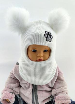 Шапка шлем вязаная детская 40-42; 42-44; 44-46; 48-50; 50-52; 52-54; 54-56 размер с флисом