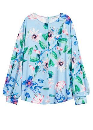 Голубая блузка с цветочным принтом h&m