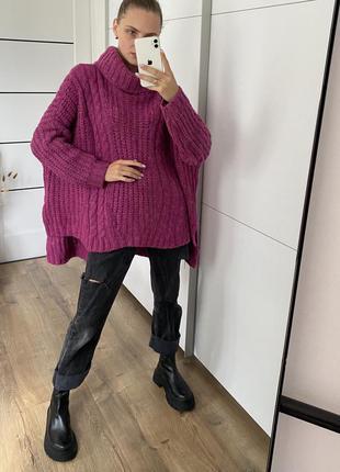 Оверсайз свитер малиновый шерсть и мохер в составе