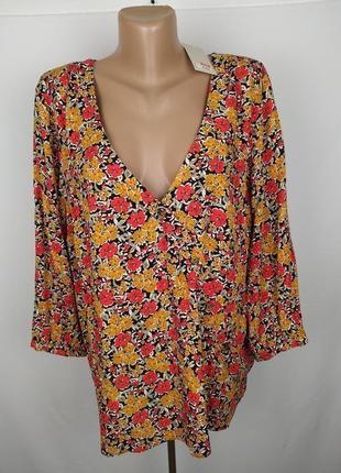 Блуза новая модная натуральная в цветочный принт большой размер f&f uk 18/46/xxl