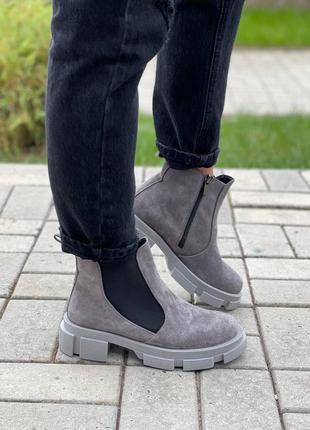 Женские ботинки, замшевые ботинки, серые ботинки