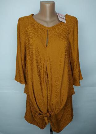 Блуза натуральный новая на завязке спереди большой размер uk 18/46/xxl