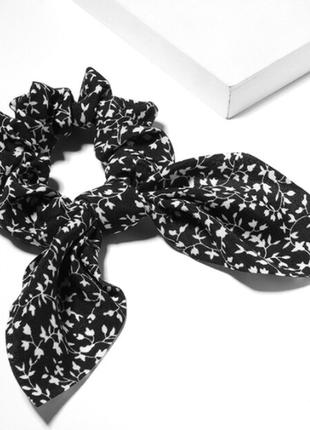 Резинка заколка аксессуар для волос с лентой с бантом черная принт новая