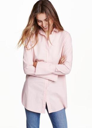 Удлиненная розовая рубашка h&m