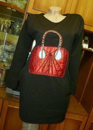 Красивое теплое нарядное-повседневное платье черное с длинным рукавом прямое
