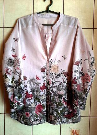 Нежно-розовая рубашка из хлопка с принтом из цветов