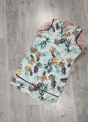 Льняное миди платье в тропический принт лен вискоза