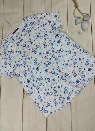 Блуза футболка хлопковая трикотажная в принт большой размер marks&spencer uk 24/52/5xl