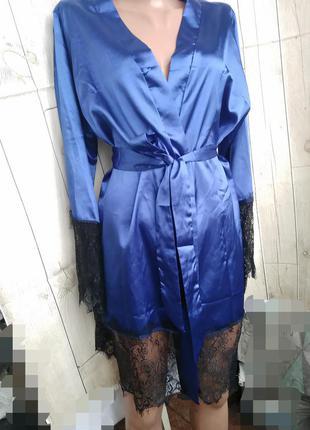 Короткий шелковый халат с поясом xxl, xxxl